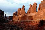 March 2008:  Sunrise along a trail among Utah's sandstone spires, Moab, Utah.