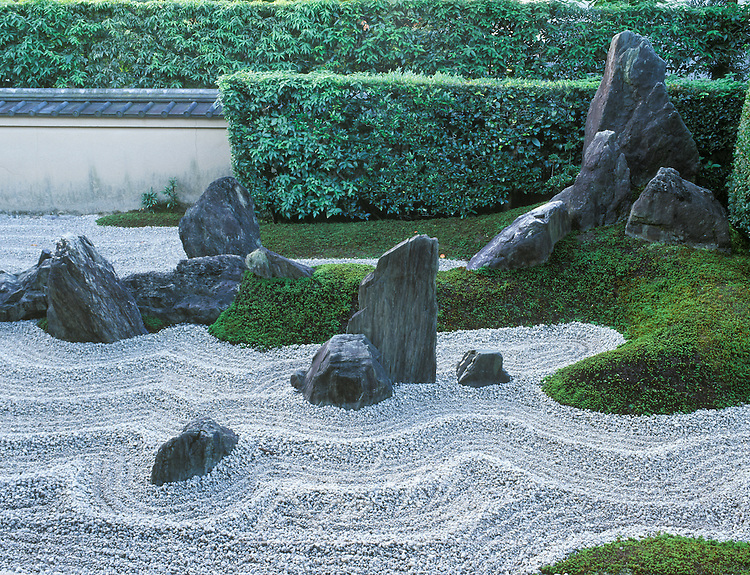 Asia, Japan, Kyoto, Daitokuji Temple, Zuiho-in Temple Rock Garden