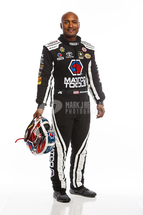 Feb 10, 2016; Pomona, CA, USA; NHRA top fuel driver Antron Brown poses for a portrait during media day at Auto Club Raceway at Pomona. Mandatory Credit: Mark J. Rebilas-USA TODAY Sports