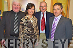 Enjoying the Kerry senior team medal presentation in the Gleneagle on Friday night were Maurice Spillane, Anne O'Neill, Joe Wallace and Harry O'Neill.