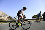 Oscar Cabedo Carda (ESP) Burgos BH on the slopes of Sierra de la Alfaguara near the finish of Stage 4 of the La Vuelta 2018, running 162km from Velez-Malaga to Alfacar, Sierra de la Alfaguara, Andalucia, Spain. 28th August 2018.<br /> Picture: Eoin Clarke   Cyclefile<br /> <br /> <br /> All photos usage must carry mandatory copyright credit (&copy; Cyclefile   Eoin Clarke)
