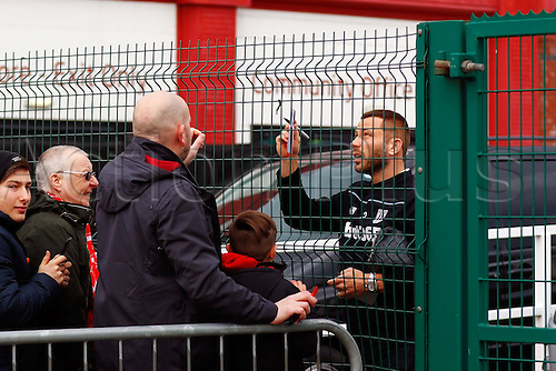 27.02.2016. Britannia Stadium, Stoke, England. Barclays Premier League. Stoke City versus Aston Villa. Stoke players meet the fans have photos taken and sign autographs before the game