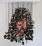 Pictured:  Revealed as a self portrait when viewed from the right angle.<br /> <br /> An artist has created a bizarre self portrait - made up of 120 dangling paint brushes.  The brushes, coated in oil paint, are painstakingly arranged so that when suspended they form a picture of the artist's face, but only when viewed from one specific angle.<br /> <br /> Andrew Myer's clever self-portrait - titled 'I'll Brush It Off' - uses at least 12 brushes, each measuring between 1 inch and 4 inches long, and took eight weeks to complete.  He attached each brush to a steel rod which is then suspended from a metal frame.  SEE OUR COPY FOR DETAILS.<br /> <br /> Please byline: Andrew Myers Art/Solent News<br /> <br /> © Andrew Myers Art/Solent News & Photo Agency<br /> UK +44 (0) 2380 458800