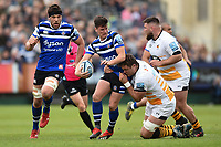 Freddie Burns of Bath Rugby takes on the Wasps defence. Gallagher Premiership match, between Bath Rugby and Wasps on May 5, 2019 at the Recreation Ground in Bath, England. Photo by: Patrick Khachfe / Onside Images