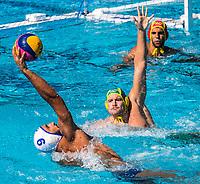 9 MARZOUKI Mehdi FRA, 7 GILCHRIST Jarrod AUS  <br /> FRA (white cap) -  AUS (blue cap)<br /> Preliminary Round Water Polo Women<br /> Day06  19/07/2017 <br /> XVII FINA World Championships Aquatics<br /> Alfred Hajos Complex Margaret Island  <br /> Budapest Hungary <br /> Photo @ Deepbluemedia/Insidefoto