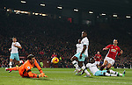 Adrian of West Ham United saves a  shot from Zlatan Ibrahimovic of Manchester United during the English League Cup Quarter Final match at Old Trafford  Stadium, Manchester. Picture date: November 30th, 2016. Pic Simon Bellis/Sportimage