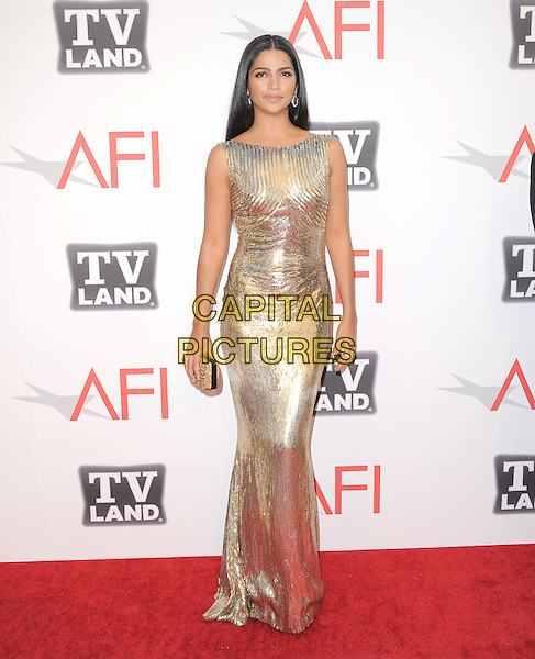 Camila Alves.at TV Land's 2011 AFI Lifetime AChievement Award Honoring Morgan Freeman held at Sony Picture Studios in Culver City, California, USA, .June 9th 2011..full length gold sequined sequin  dress shiny metallic clutch bag long maxi sleeveless                                                                 .CAP/RKE/DVS.©DVS/RockinExposures/Capital Pictures.