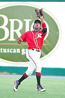 Right fielder Francisco Peguero #49 of the Richmond Flying Squirrels makes a running catch against the Harrisburg Senators in game one of a double-header at The Diamond on July 22, 2011 in Richmond, Virginia.  The Squirrels defeated the Senators 3-1.   (Brian Westerholt / Four Seam Images)