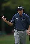 7 September 2008:   Jim Furyk acknowledges the crowd after making a good putt during the fourth and final round of play at the BMW Golf Championship at Bellerive Country Club in Town & Country, Missouri, a suburb of St. Louis, Missouri on Sunday September 7, 2008. The BMW Championship is the third event of the PGA's  Fed Ex Cup Tour.