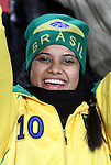 15 JUN 2010:  Brazil fan in the stands bundled up for the cold.  The Brazil National Team played the North Korea National Team at Ellis Park Stadium in Johannesburg, South Africa in a 2010 FIFA World Cup Group G match.