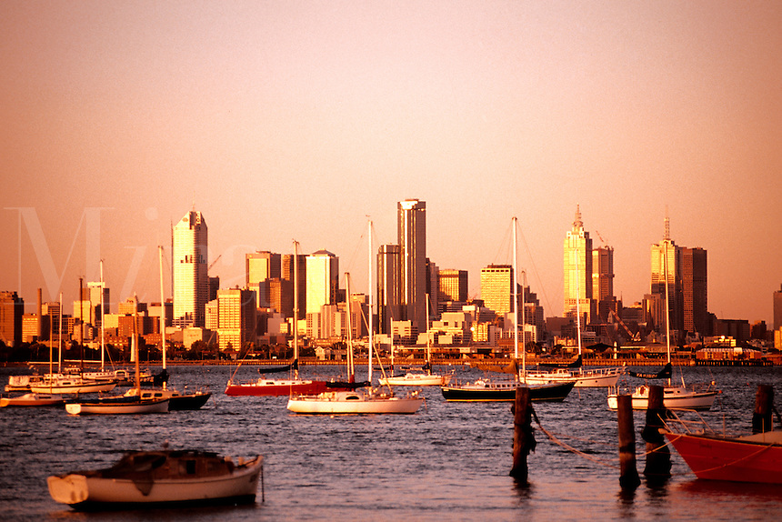 Melbourne Australia Skyline from water