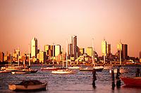 Melbourne Australia Skyline from water