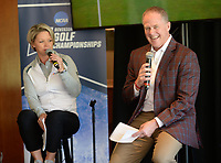 NWA Democrat-Gazette/ANDY SHUPE<br /> Hunter Yurachek (right), director of athletics at the University of Arkansas, speaks Tuesday, April 9, 2019, alongside Lisa Cornwell, former Fayetteville High School and Arkansas golfer and current Golf Channel anchor, during a press conference to announce the details of the NCAA Men's and Women's Golf Nation Championship at Blessings Golf Club in Johnson.