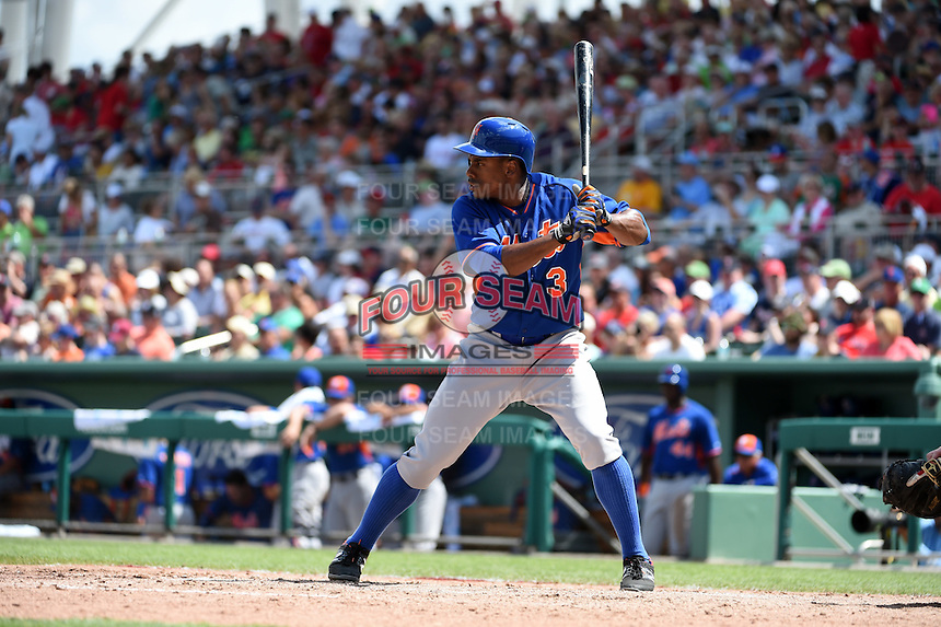 New York Mets outfielder Curtis Granderson (3) during a Spring Training game against the Boston Red Sox on March 16, 2015 at JetBlue Park at Fenway South in Fort Myers, Florida.  Boston defeated New York 4-3.  (Mike Janes/Four Seam Images)