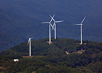 aerial photograph of the Buffalo Mountain Wind Farm, about 30 miles northwest of Knoxville,  Tennessee