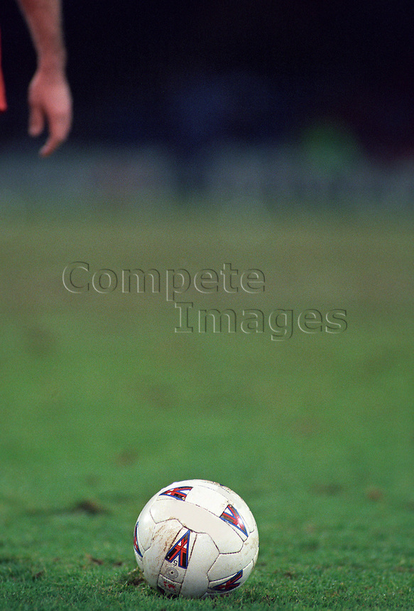 Football on the pitch during a game