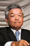 President and CEO Naotoshi Okada from the Japanese news organization Nikkei Inc. attends a press conference to discuss about the acquisition of the British newspaper Financial Times Group on July 24, 2015, Tokyo, Japan. Nikkei's Chairman Tsuneo Kita has promised to respect the Financial Times' editorial independence after agreeing to acquire all shares in Financial Times Group for 844 million pounds (about $1.3 billion) from U.K. education company Pearson. (Photo by Rodrigo Reyes Marin/AFLO)