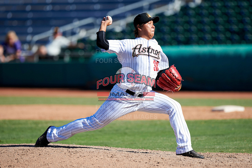 Mesa Solar Sox pitcher Chia-Jen Lo #30, of the Houston Astros organization, during an Arizona Fall League game against the Peoria Javelinas at HoHoKam Park on October 15, 2012 in Mesa, Arizona.  Peoria defeated Mesa 9-2.  (Mike Janes/Four Seam Images)