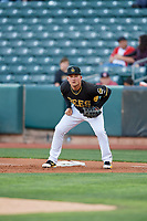 Matt Thaiss (21) of the Salt Lake Bees on defense against the Sacramento River Cats at Smith's Ballpark on April 12, 2019 in Salt Lake City, Utah. The River Cats defeated the Bees 4-2. (Stephen Smith/Four Seam Images)