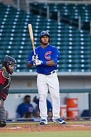 AZL Cubs right fielder Jeffrey Baez (28) at bat against the AZL Diamondbacks on August 11, 2017 at Sloan Park in Mesa, Arizona. AZL Cubs defeated the AZL Diamondbacks 7-3. (Zachary Lucy/Four Seam Images)