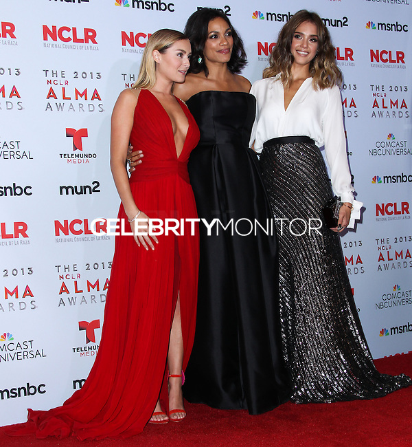 PASADENA, CA - SEPTEMBER 27: Alexa Vega, Rosario Dawson and Jessica Alba pose in the press room during the 2013 NCLR ALMA Awards held at Pasadena Civic Auditorium on September 27, 2013 in Pasadena, California. (Photo by Xavier Collin/Celebrity Monitor)