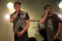 Die Hip-Hop-Gruppe Antilopen Gang aus Duesseldorf, Koeln und Berlin spielte am Samstag den 14. Maerz 2015 im ausverkauften Berliner Club SO36.<br /> Die Band besteht aus den Rappern Koljah Kolerikah, Panik Panzer (rechts) und Danger Dan (links) und steht beim Toten Hosen-Label JKP unter Vertrag.<br /> 14.3.2015, Berlin<br /> Copyright: Christian-Ditsch.de<br /> [Inhaltsveraendernde Manipulation des Fotos nur nach ausdruecklicher Genehmigung des Fotografen. Vereinbarungen ueber Abtretung von Persoenlichkeitsrechten/Model Release der abgebildeten Person/Personen liegen nicht vor. NO MODEL RELEASE! Nur fuer Redaktionelle Zwecke. Don't publish without copyright Christian-Ditsch.de, Veroeffentlichung nur mit Fotografennennung, sowie gegen Honorar, MwSt. und Beleg. Konto: I N G - D i B a, IBAN DE58500105175400192269, BIC INGDDEFFXXX, Kontakt: post@christian-ditsch.de<br /> Bei der Bearbeitung der Dateiinformationen darf die Urheberkennzeichnung in den EXIF- und  IPTC-Daten nicht entfernt werden, diese sind in digitalen Medien nach &sect;95c UrhG rechtlich geschuetzt. Der Urhebervermerk wird gemaess &sect;13 UrhG verlangt.]