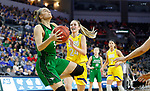 SIOUX FALLS, SD - MARCH 7: Olivia Lane #34 of the North Dakota Fighting Hawks goes up for a layup against the South Dakota State Jackrabbits at the 2020 Summit League Basketball Championship in Sioux Falls, SD. (Photo by Richard Carlson/Inertia)