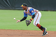 Bowie, MD - May 21, 2017: Bowie Baysox shortstop Sharlon Schoop (14) starts a double play during the MiLB game between Binghamton and Bowie at  Baysox Stadium in Bowie, MD.  (Photo by Elliott Brown/Media Images International)