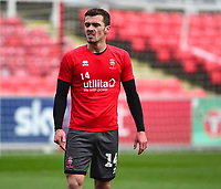 Lincoln City's Harry Toffolo during the pre-match warm-up<br /> <br /> Photographer Andrew Vaughan/CameraSport<br /> <br /> The EFL Sky Bet League Two - Swindon Town v Lincoln City - Saturday 12th January 2019 - County Ground - Swindon<br /> <br /> World Copyright &copy; 2019 CameraSport. All rights reserved. 43 Linden Ave. Countesthorpe. Leicester. England. LE8 5PG - Tel: +44 (0) 116 277 4147 - admin@camerasport.com - www.camerasport.com