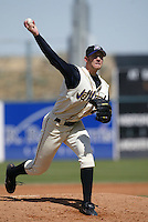 Jason Bulger of the Lancaster JetHawks pitches during a game at The Hanger on April 6, 2003 in Lancaster, California. (Larry Goren/Four Seam Images)
