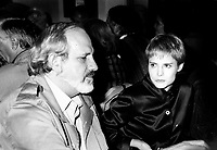 Montreal (Qc) CANADA -1995 File Photo - exclusive.<br /> <br /> Brian DePalma (L) and  Jennifer Jason-Leigh (R) at a private dinner.<br /> <br /> <br /> photo (c) Pierre Roussel - Images Distribution