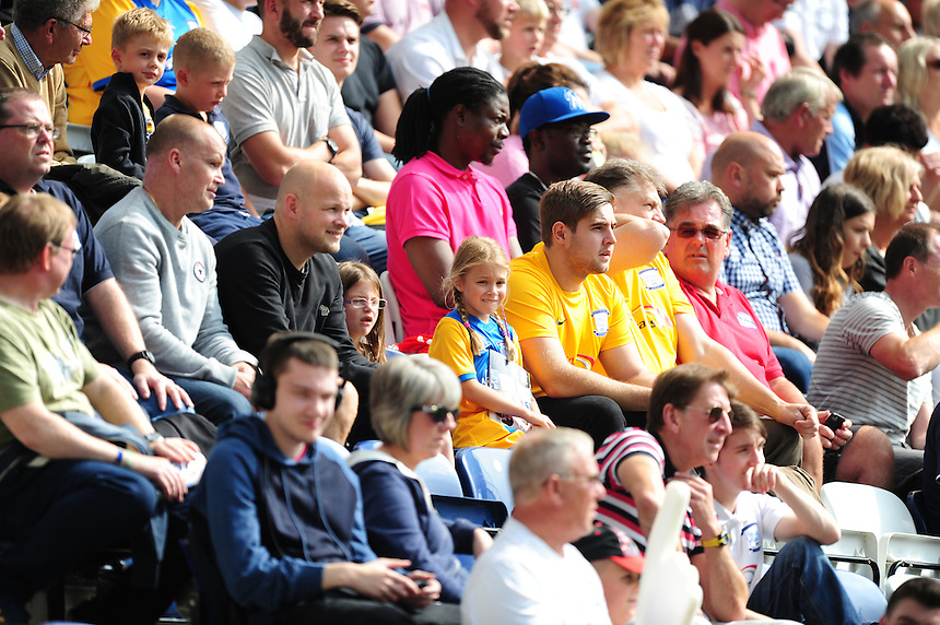 Preston North End fans during the first half<br /> <br /> Photographer Chris Vaughan/CameraSport<br /> <br /> Football - The Football League Sky Bet Championship - Preston North End v Ipswich Town - Saturday 22nd August 2015 - Deepdale - Preston<br /> <br /> &copy; CameraSport - 43 Linden Ave. Countesthorpe. Leicester. England. LE8 5PG - Tel: +44 (0) 116 277 4147 - admin@camerasport.com - www.camerasport.com
