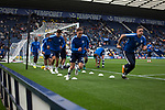 Home team warming up before Preston North End take on Reading in an EFL Championship match at Deepdale. The home team won the match 1-0, Jordan Hughill scoring the only goal after 22nd minutes, watched by a crowd of 11,174.