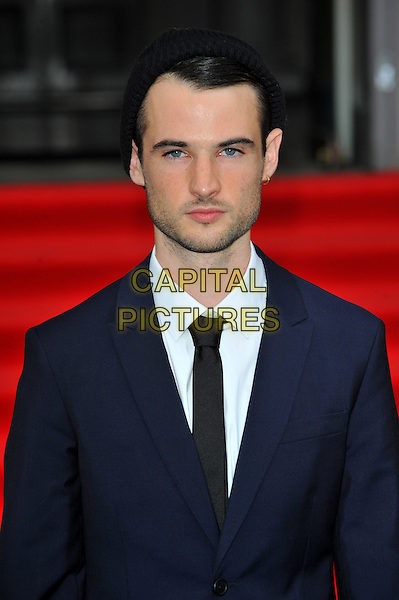 "Tom Sturridge.Attends the UK Premiere of ""On The Road"" at Somerset house, Strand, London, England..August 16th, 2012.headshot portrait black shirt blue suit jacket tie stubble facial hair.CAP/CJ.©Chris Joseph/Capital Pictures."