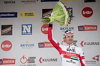3rd finisher Alexander Kristoff (NOR/UAE-Emirates) on the podium<br /> <br /> 72nd Kuurne-Brussel-Kuurne 2020 (1.Pro)<br /> Kuurne to Kuurne (BEL): 201km<br /> <br /> ©kramon