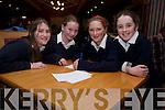 Ban Scoil An Chlochair pupils Grace McGrattan, Megan Flannery, Caoimhe Ni? Choileain and Lucy Sanders at the Comhar Chreidmheasa Chorca Dhuibhne Schools Quiz at the Blenner Hotel, Dingle, on Friday night.
