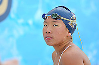14 January 2012:  FIU's Jennifer Lee after competing in the 200 yard backstroke as the FIU Golden Panthers won the meet with the Central Connecticut State University Blue Devils at the Biscayne Bay Campus Aquatics Center in Miami, Florida.