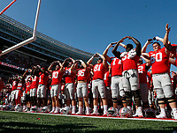 Ohio State Buckeyes celebrate their win over UNLV at Ohio Stadium September 23, 2017. [Eric Albrecht/Dispatch]