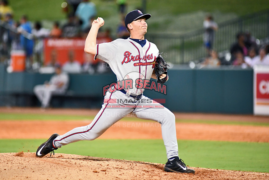 Southern Divisions pitcher Walter Borkovich (33) of the Rome Braves delivers a pitch during the South Atlantic League All Star Game at First National Bank Field on June 19, 2018 in Greensboro, North Carolina. The game Southern Division defeated the Northern Division 9-5. (Tony Farlow/Four Seam Images)