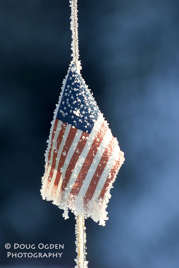 Ice on American Flag mounted on a car antenna. Vertical