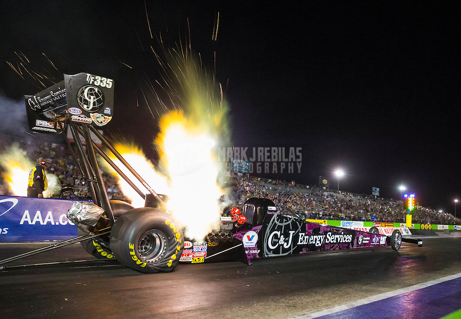 Oct 16, 2015; Ennis, TX, USA; NHRA top fuel driver Dave Connolly during qualifying for the Fall Nationals at the Texas Motorplex. Mandatory Credit: Mark J. Rebilas-USA TODAY Sports