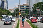 Ciclovia da Avenida Chedid Jafet, Bairro Vila Olimpia, Sao Paulo. 2018. Foto de Juca Martins.