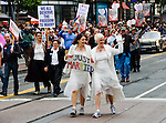 California, San Francisco: Lesbian couple celebrates same-sex marriage in the 2008 Gay Pride Parade..Photo #: 27-casanf82209.Photo © Lee Foster 2008