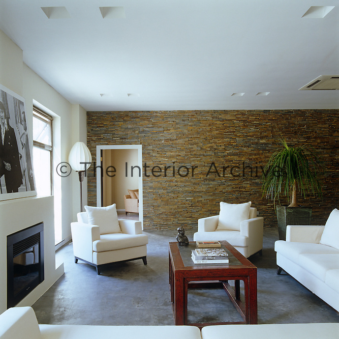 One wall of the contemporary sitting room is lined with granite
