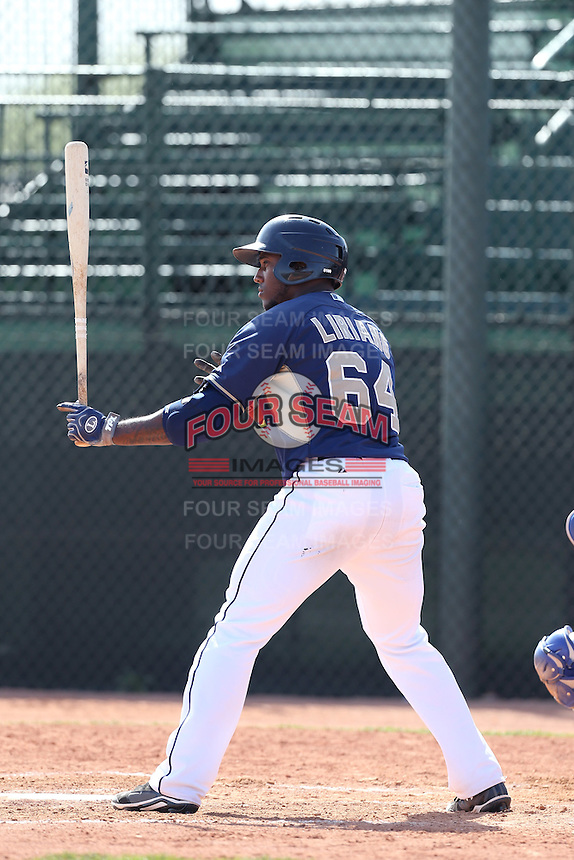 Rymer Liriano #64 of the San Diego Padres bats during a Minor League Spring Training Game against the Kansas City Royals at the Kansas City Royals Spring Training Complex on March 26, 2014 in Surprise, Arizona. (Larry Goren/Four Seam Images)