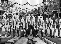 ANAHEIM, CALIF. Dec. 22, 1957 OSU football team starting-line-up on Main Street at Disneyland, December 22, 1957, before their Rose Bowl game against Oregon. Linemen, L to R, are  Leo Brown,  Jim Marshall, Aurelius Thomas, Bob White, Bill Jabko, Rusty Bowermaster and Jim Huston. Backs are Don Souther, Don Clark, Galen Cisco and Dick LeBeau. The Buckeyes enjoyed the attractions and rides before beginning serious training for the Rose Bowl encounter.   United Press Telephoto ACME Newspictures