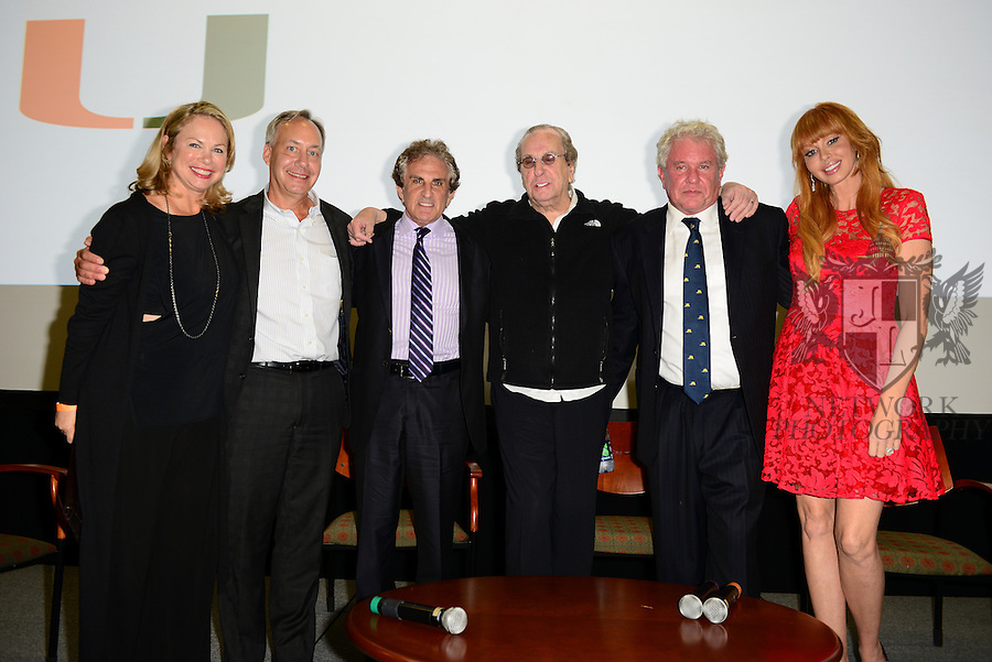CORAL GABLES, FL - NOVEMBER 20: Laura Moretti, Gregory J. Shepherd, John Herzfeld, Danny Aiello, Tom Berenger and Rebekah Chaney attend Q&A session after the premiere screening Of 'Reach Me' Hosted by University Of Miami inside the BankUnited Center Fieldhouse at University of Miami on Thursday November 20, 2014 in Coral Gables, Florida. (Photo by Johnny Louis/jlnphotography.com)