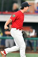 Johnson City Cardinals pitcher Tyler Peck (16) celebrates  after game three of the Appalachian League, West Division Playoffs against the Bristol Pirates at TVA Credit Union Ballpark on September 1, 2019 in Johnson City, Tennessee. The Cardinals defeated the Pirates 7-5 to win the series 2-1. (Tony Farlow/Four Seam Images)