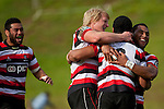 Steelers captain Jamie Chipman and Samisoni Fisilau congratulate Fritz Lee after he scored the first Steelers try. ITM Cup rugby game between Counties Manukau Steelers and Northland, played at Bayer Growers Stadium, Pukekohe, on Sunday September 26th 2010..The Counties Manukau Steelers won 40 - 24 after leading 27 - 7 at halftime.