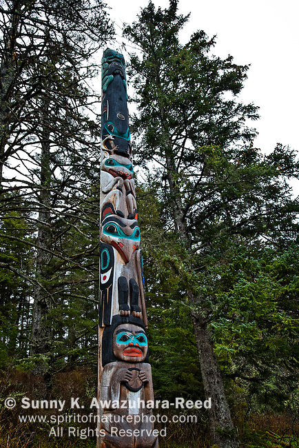 Japanese Photographer Michio Hoshino's memorial totem pole at Halibut Point State Recreation Site, Sitka, Southeast Alaska, Spring.